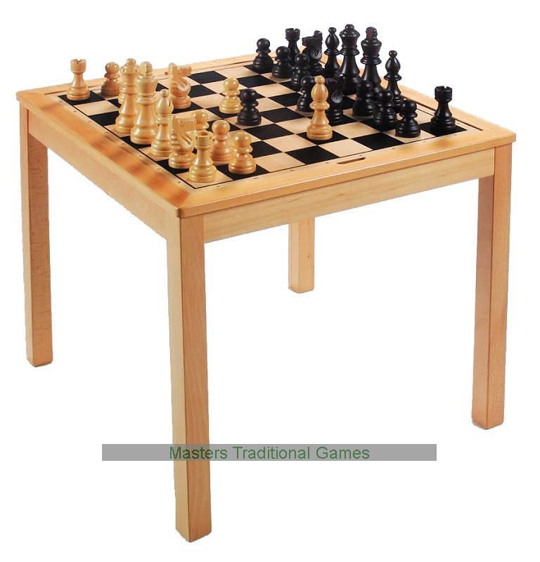 Large square chess and draughts checkers table with pieces - Wooden chess tables ...