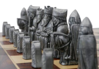 Berkeley Chess Isle of Lewis Chess Set - Steel & Copper finish