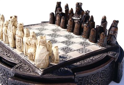 Isle Of Lewis Compact Chess Set - 9 inches, brown cabinet