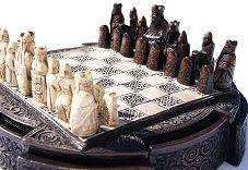 Small Lewis Chessmen in brown Resin Box
