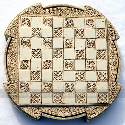 Isle Of Lewis Compact Chess Set - 9 inches, cream cabinet