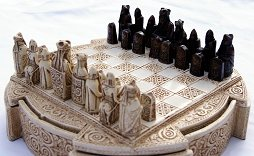Small Lewis Chessmen in cream resin box