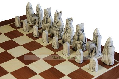 Isle of Lewis Ivory & Teak coloured Chess Pieces