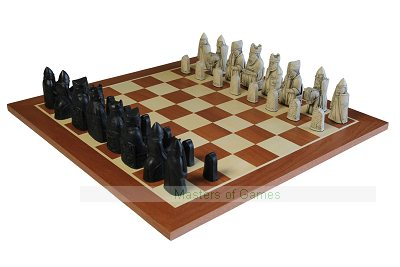 Isle of Lewis Chessmen (coloured Cream & Black) + Chequerboard