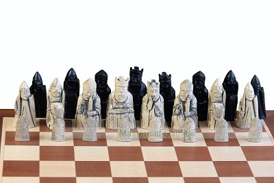Isle of Lewis Ivory & Black Chess Pieces (board not included)