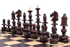 Old Polish Style Chess Set - Folding Board & Chess Pieces