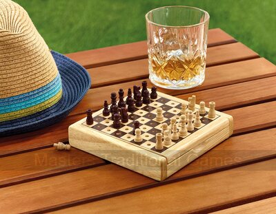 Travel Chess Set - wooden pegged pieces