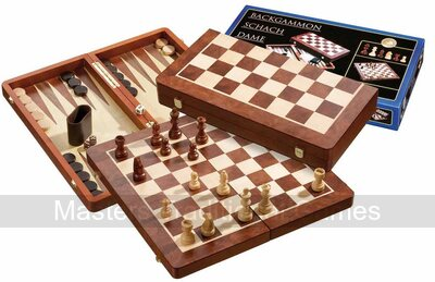 Philos Chess, Backgammon & Draughts Set - (48cm with 50mm squares)