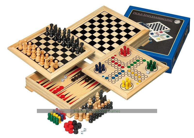 Philos Travel Wooden Game Compendium 20cm 4 Games