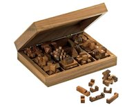 Compendium of 12 Burr Puzzles in wooden case