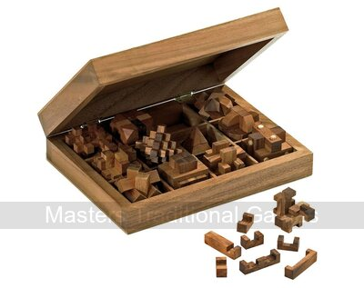 Philos Compendium of 12 Burr Puzzles in wooden case
