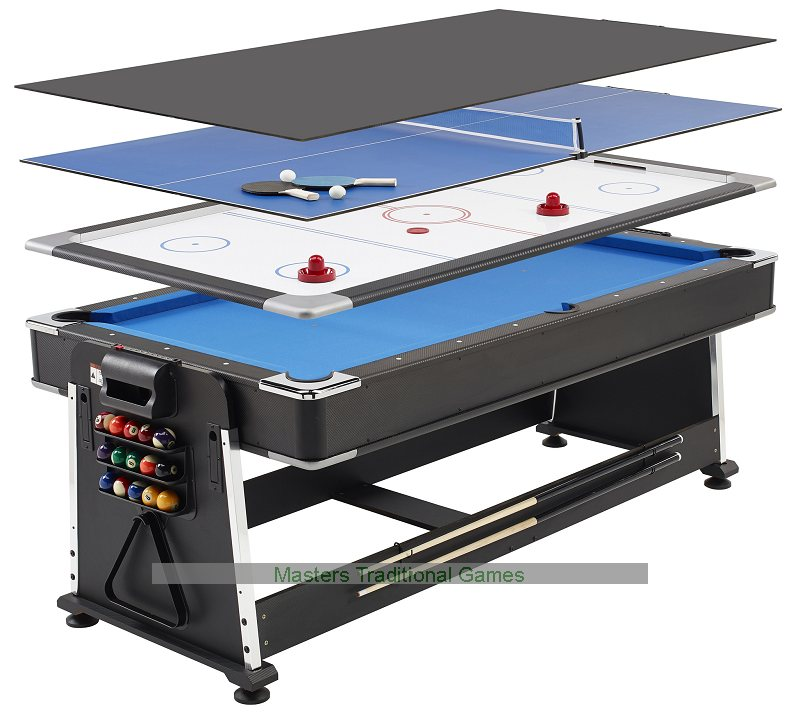 7ft 3 In 1 Revolver Pool Air Hockey Table Tennis