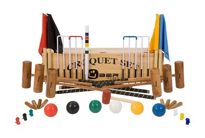 Uber 6 player Pro Croquet Set in a wooden box