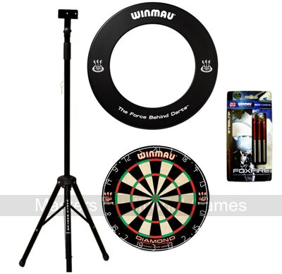 Darts Master Dartboard Stand Bundle - Stand, Board & Surround