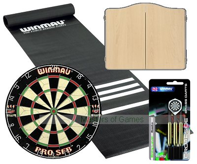 Standard Pub Darts Set - Starter Bundle (Beech finish Cabinet)