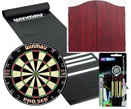 Standard Pub Darts Set - Starter Bundle (Rosewood finish Cabinet)