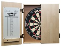 Bull's Darts Deluxe Wooden Dartboard Cabinet - Light Oak