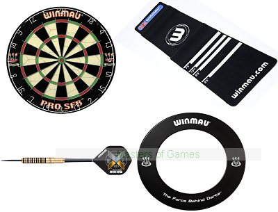 Home Darts Bundle - Winmau Board, Surround, Darts & Oche Mat
