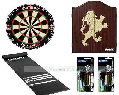 Premium Pub Blade 5 Darts Set - Starter Bundle (with Rosewood finish Lion cabinet)