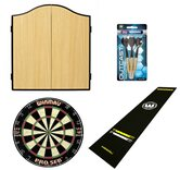 Pub Darts Bundle - Cabinet, Dartboard, Oche Mat & Darts Set
