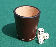 Handmade Leather Dice Cup with 4 Dice