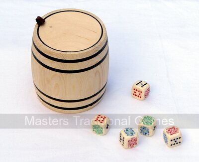 Poker Dice in Wooden Barrel Shaker