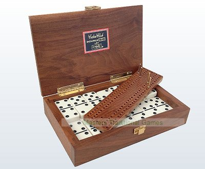 Cabin Double 6 Dominoes in American Walnut Case with Cribbage Board