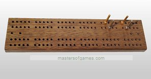 Cabin Double 6 Dominoes in Walnut Case with Cribbage Board