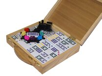 Mexican Train Dominoes in Wooden Case