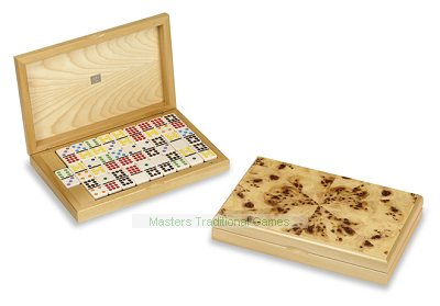 Dal Negro Double 9 colour spot dominoes in Poplar briar box