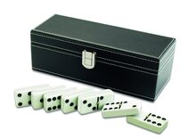 Double 6 Dominoes in Leatherette Box