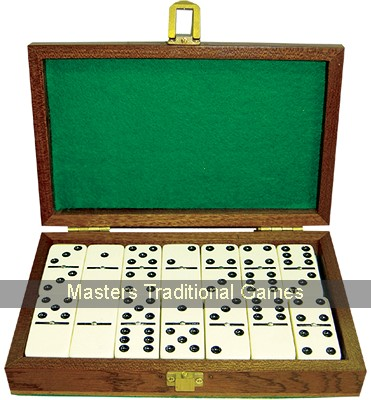 Jaques Double Six Dominoes in Mahogany Box