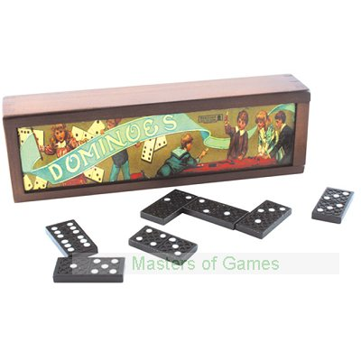 Retro Dominoes - Black Dominoes with White Spots