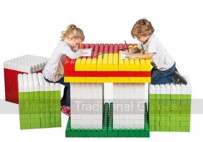 Game Movil Giant Blocks Table and Three Chairs - 480 Pieces