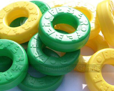 Set of 42 spare disks for Mega 4 in a Line (21 green, 21 yellow)