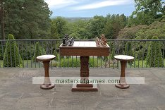 Large Teak Chess Table