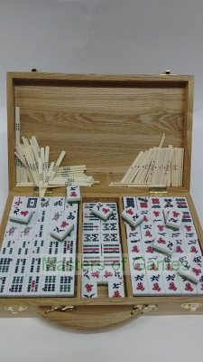 Mah Jong set in Oak carry case