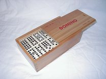 Double 9 Dominoes in wooden box