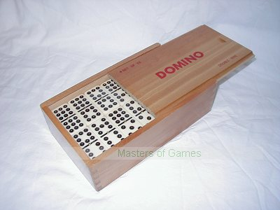 Double 9 Dominoes with spinners in wooden box