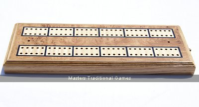 Inlaid Cribbage board - Oak Burr with brass pegs