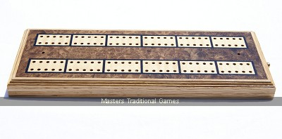 Inlaid Cribbage board - Walnut Burr with brass pegs, Waddington Playing Cards & Rules