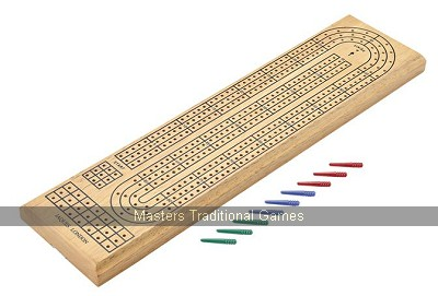 Jaques Three Player Wooden Cribbage Board