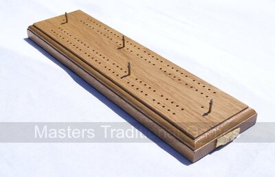 Large Hand Made Oak Cribbage Board