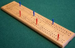 Cribbage Board - wooden with plastic pegs