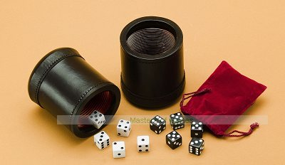Double Leather Dice Cup Set with 10 dice, bag and games book