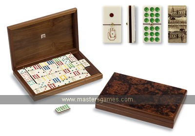 Dal Negro Double 9 Venetian dominoes in dark briar root walnut box