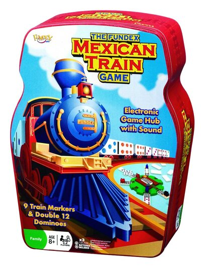 Fundex Mexican Train Dominoes in a tin (with audible hub)