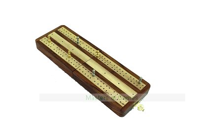 Italfama Folding Wooden Cribbage Set - Lighter Wood