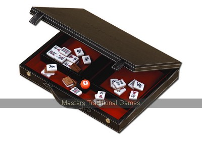 Dal Negro Mah Jong set - Bonded leather box with wooden backed tiles