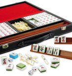 Mahjong Set in Leatherette Case with Racks & Acrylic Tiles